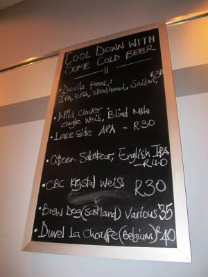 Reuben's Franschhoek beer menu