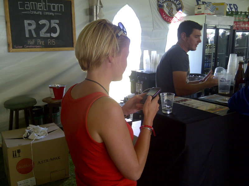 Tweeting about Camelthorn's beers at CTFoB 2011