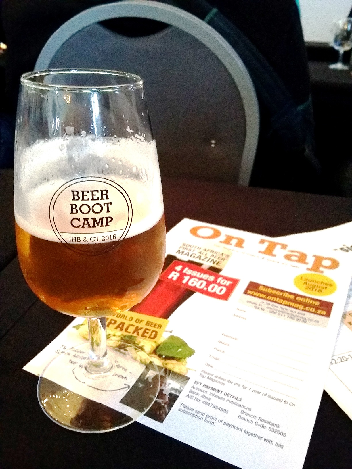 Mock-ups of On Tap, SA's first dedicated beer magazine, were on show at Boot Camp