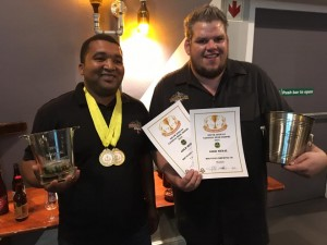Mountain Brewing Co's Gershwin Hermanus and PG Groenewald with their two gold medals